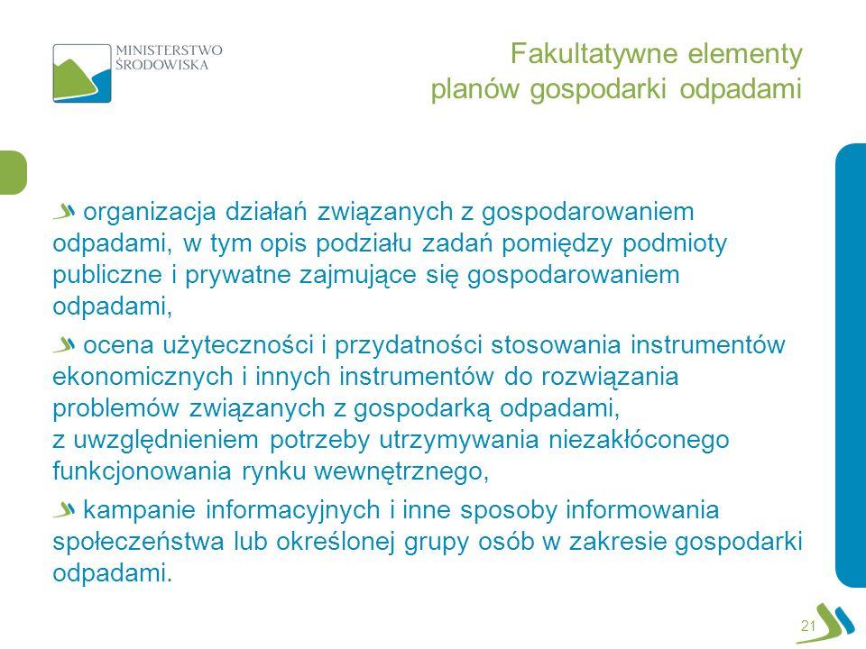 Fakultatywne elementy planów gospodarki odpadami organizacja działań związanych z gospodarowaniem odpadami, w tym opis podziału zadań pomiędzy podmiot