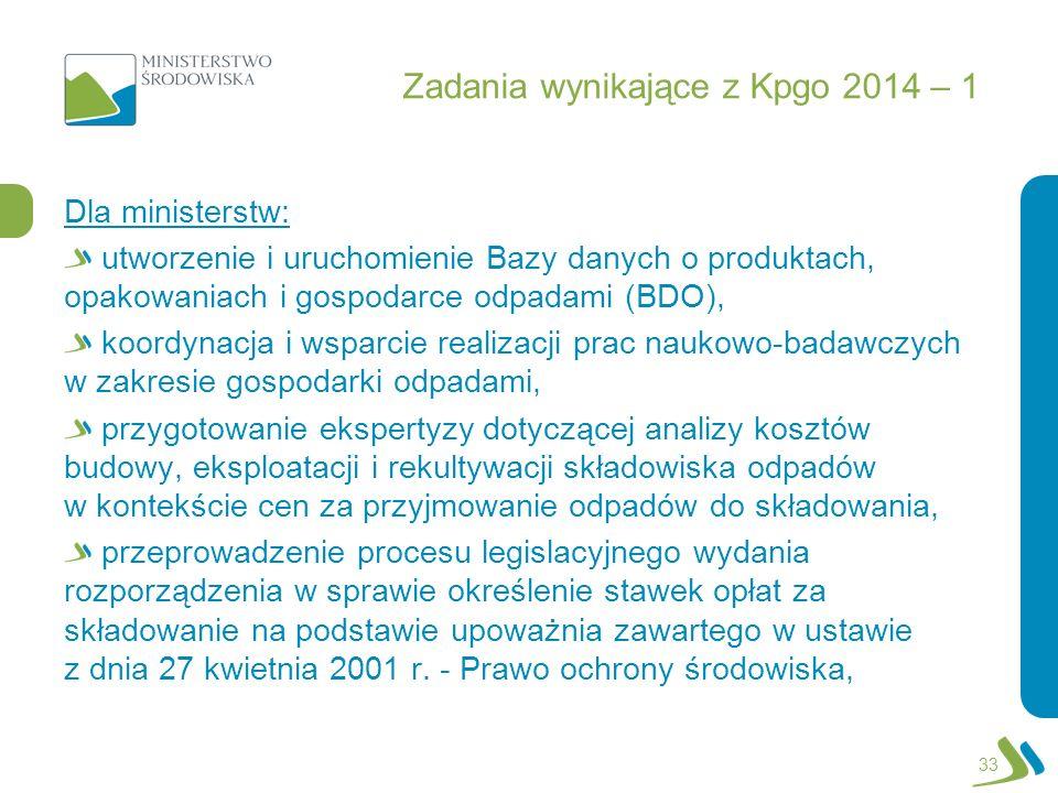 Zadania wynikające z Kpgo 2014 – 1 Dla ministerstw: utworzenie i uruchomienie Bazy danych o produktach, opakowaniach i gospodarce odpadami (BDO), koor