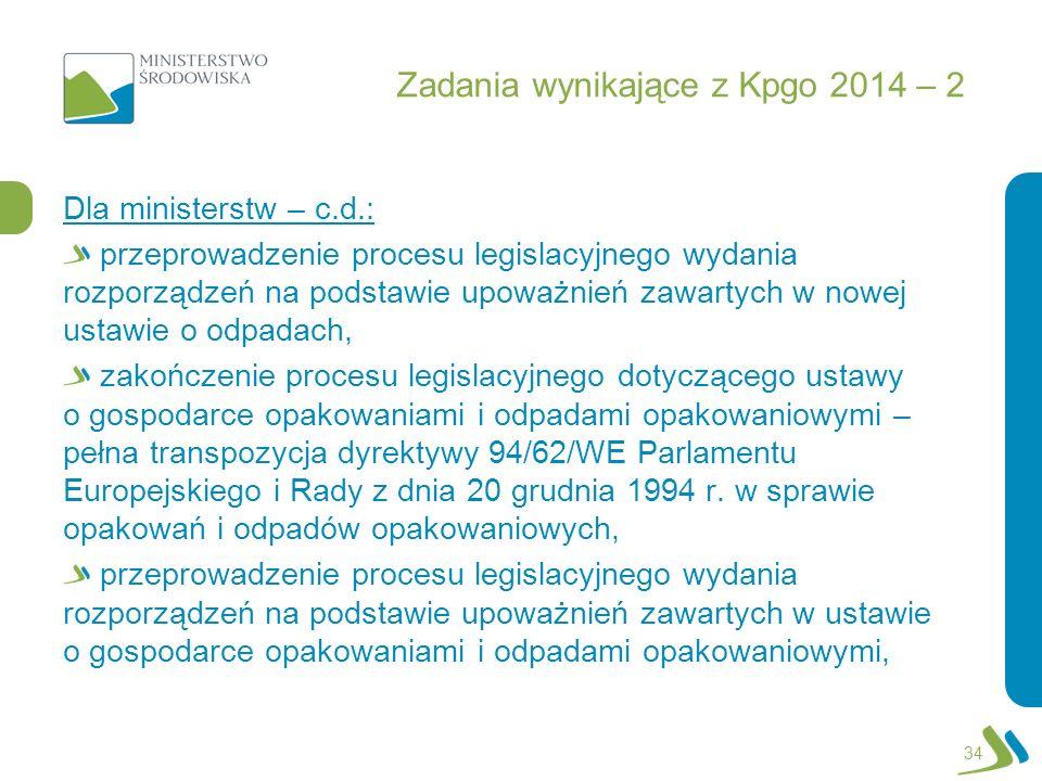 Zadania wynikające z Kpgo 2014 – 2 Dla ministerstw – c.d.: przeprowadzenie procesu legislacyjnego wydania rozporządzeń na podstawie upoważnień zawarty