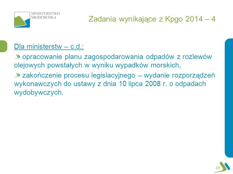 Zadania wynikające z Kpgo 2014 – 4 Dla ministerstw – c.d.: opracowanie planu zagospodarowania odpadów z rozlewów olejowych powstałych w wyniku wypadkó
