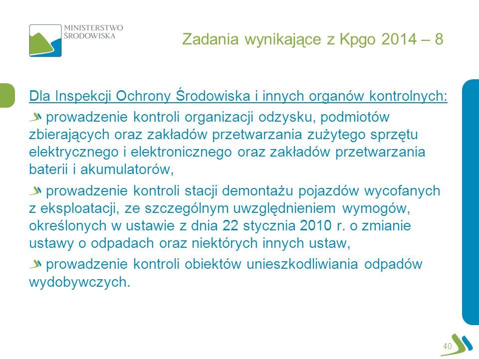 Zadania wynikające z Kpgo 2014 – 8 Dla Inspekcji Ochrony Środowiska i innych organów kontrolnych: prowadzenie kontroli organizacji odzysku, podmiotów