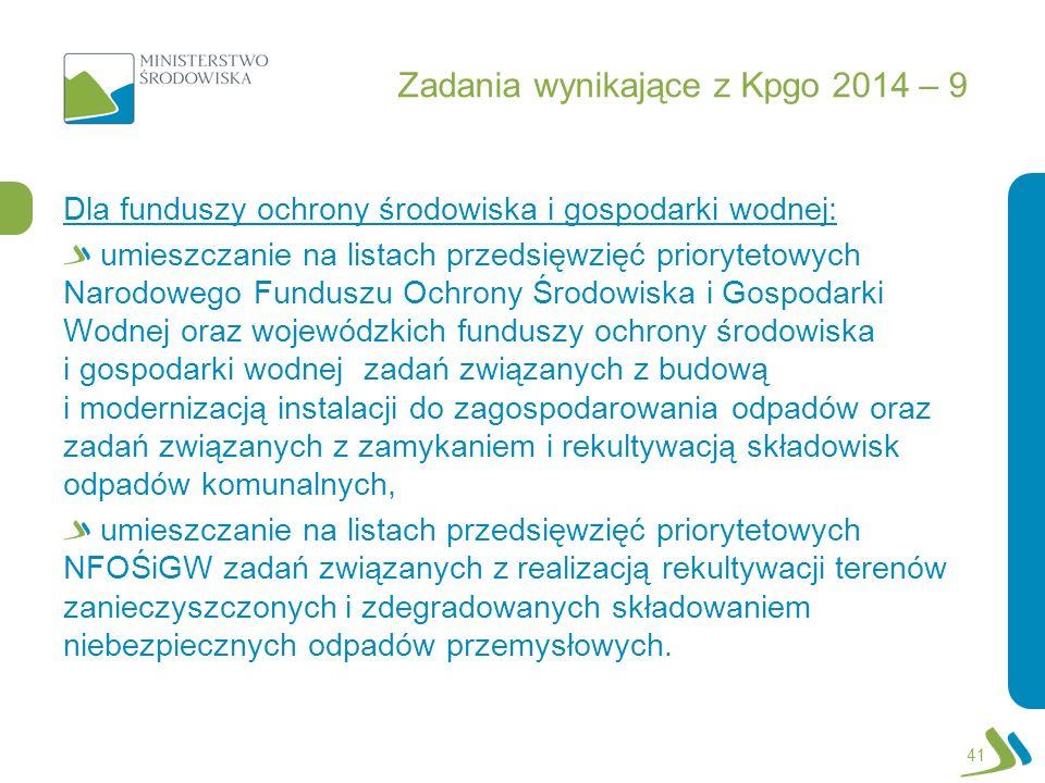 Zadania wynikające z Kpgo 2014 – 9 Dla funduszy ochrony środowiska i gospodarki wodnej: umieszczanie na listach przedsięwzięć priorytetowych Narodoweg