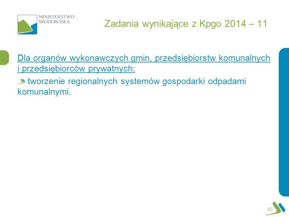 Zadania wynikające z Kpgo 2014 – 11 Dla organów wykonawczych gmin, przedsiębiorstw komunalnych i przedsiębiorców prywatnych: tworzenie regionalnych sy