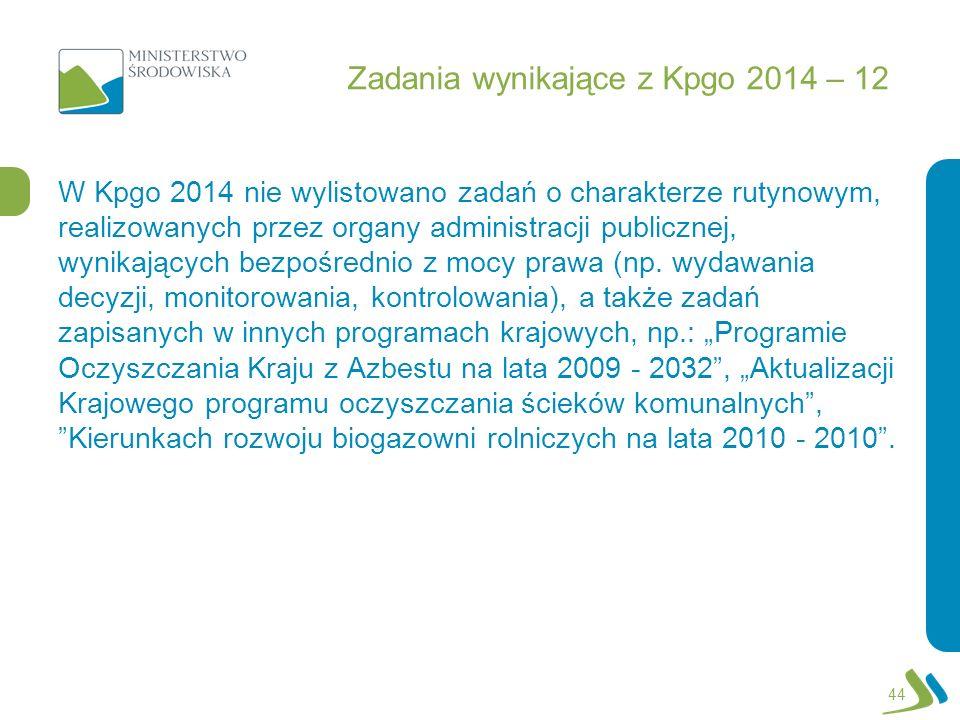 Zadania wynikające z Kpgo 2014 – 12 W Kpgo 2014 nie wylistowano zadań o charakterze rutynowym, realizowanych przez organy administracji publicznej, wy