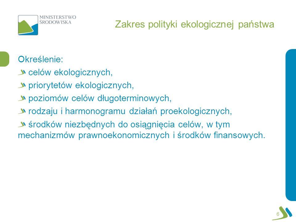 Zakres polityki ekologicznej państwa Określenie: celów ekologicznych, priorytetów ekologicznych, poziomów celów długoterminowych, rodzaju i harmonogra