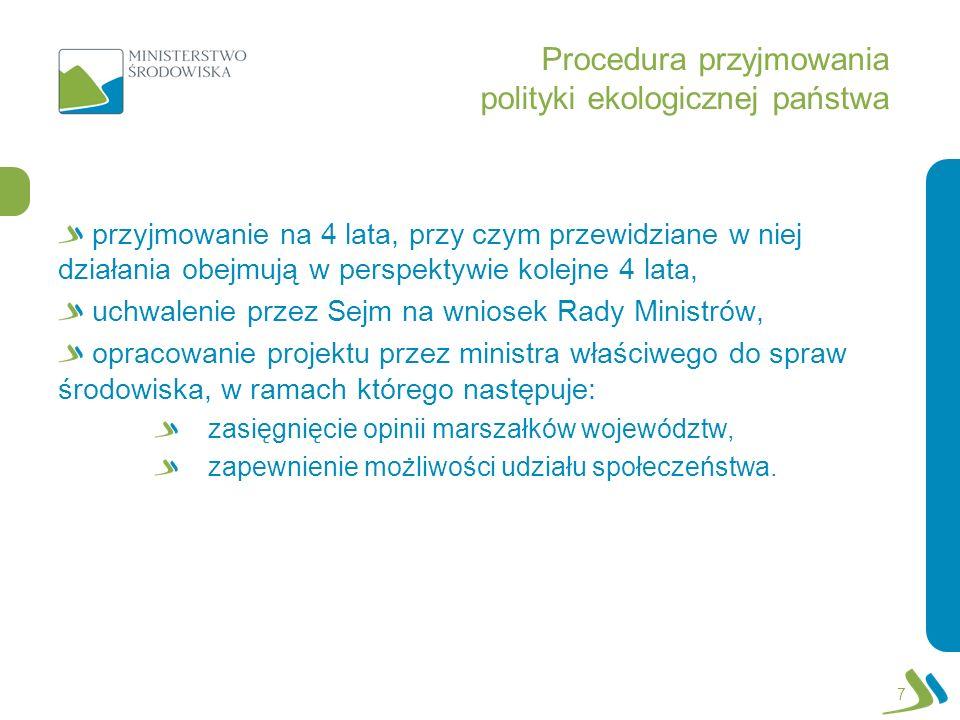 Procedura przyjmowania polityki ekologicznej państwa przyjmowanie na 4 lata, przy czym przewidziane w niej działania obejmują w perspektywie kolejne 4