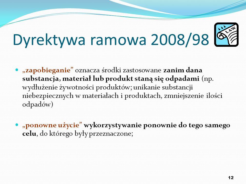 Dyrektywa ramowa 2008/98 zapobieganie oznacza środki zastosowane zanim dana substancja, materiał lub produkt staną się odpadami (np. wydłużenie żywotn
