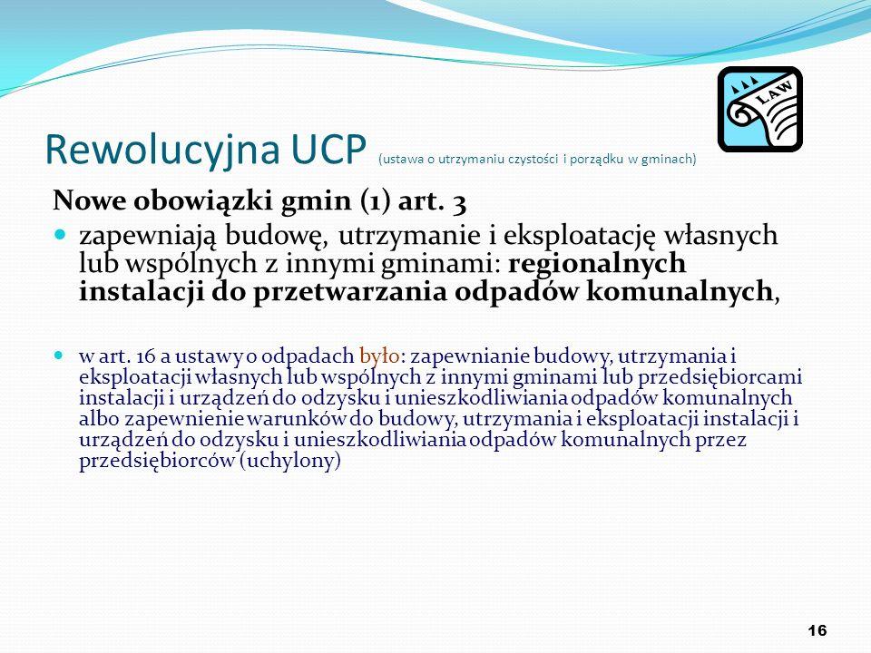 Rewolucyjna UCP (ustawa o utrzymaniu czystości i porządku w gminach) Nowe obowiązki gmin (1) art. 3 zapewniają budowę, utrzymanie i eksploatację własn