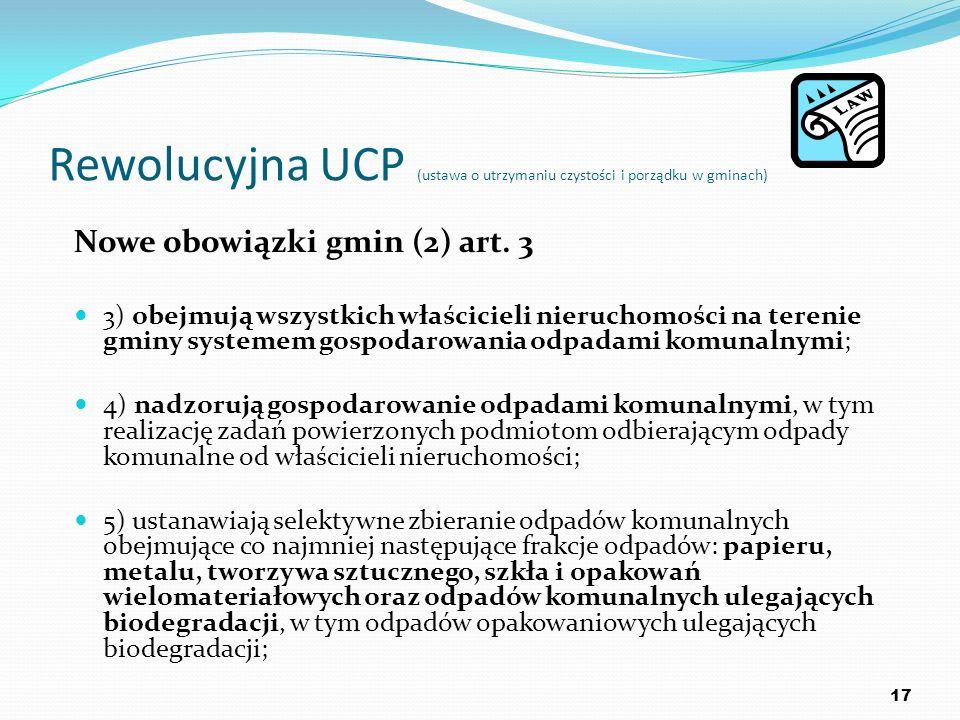 Rewolucyjna UCP (ustawa o utrzymaniu czystości i porządku w gminach) Nowe obowiązki gmin (2) art. 3 3) obejmują wszystkich właścicieli nieruchomości n