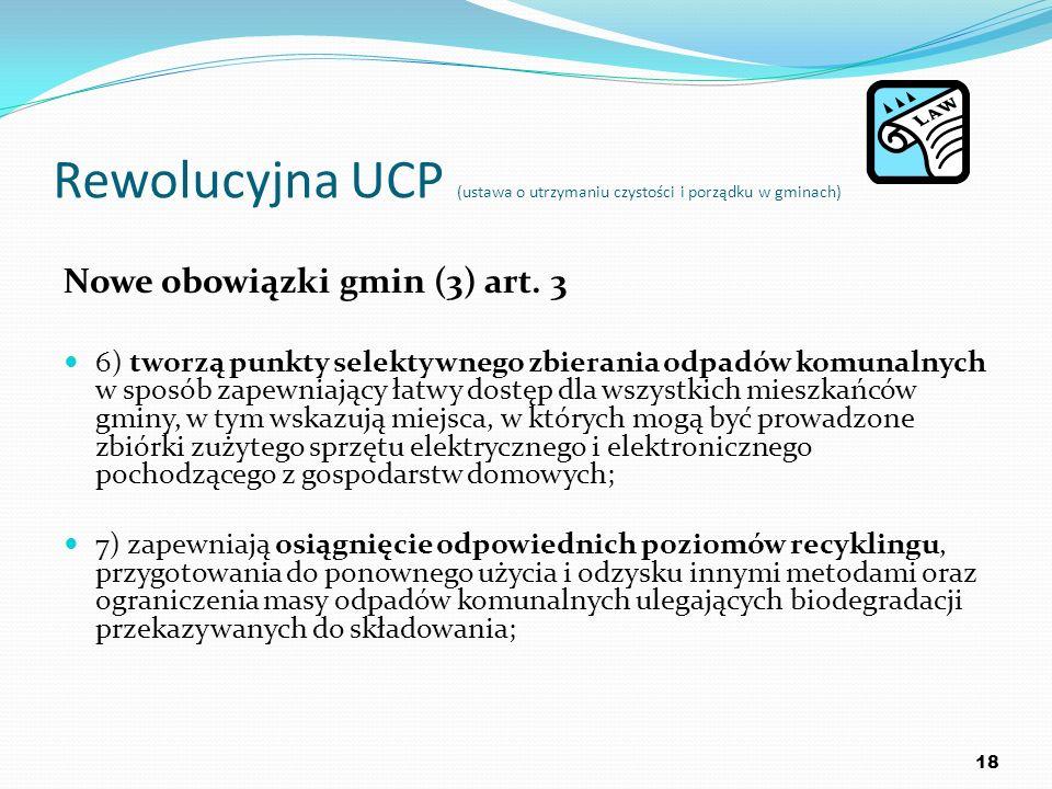 Rewolucyjna UCP (ustawa o utrzymaniu czystości i porządku w gminach) Nowe obowiązki gmin (3) art. 3 6) tworzą punkty selektywnego zbierania odpadów ko