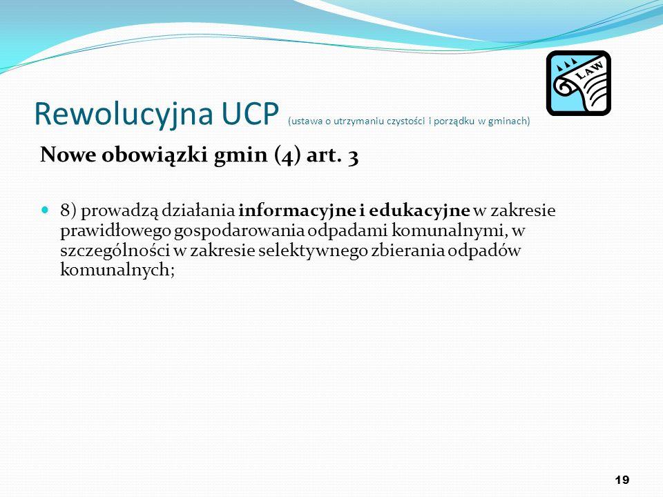 Rewolucyjna UCP (ustawa o utrzymaniu czystości i porządku w gminach) Nowe obowiązki gmin (4) art. 3 8) prowadzą działania informacyjne i edukacyjne w