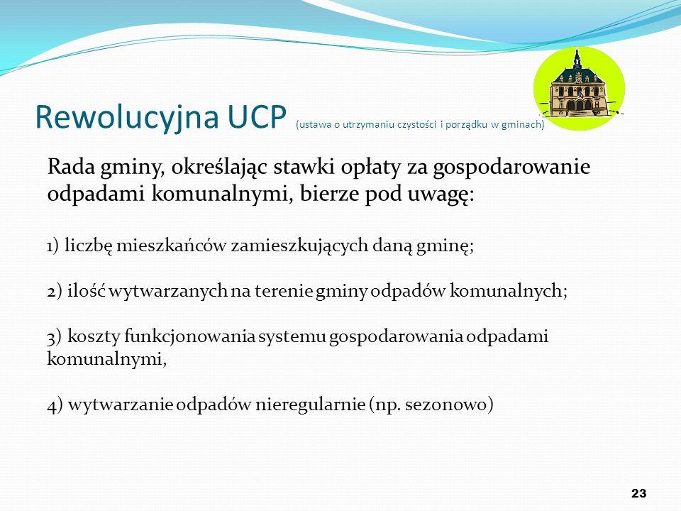 Rewolucyjna UCP (ustawa o utrzymaniu czystości i porządku w gminach) 23 Rada gminy, określając stawki opłaty za gospodarowanie odpadami komunalnymi, b