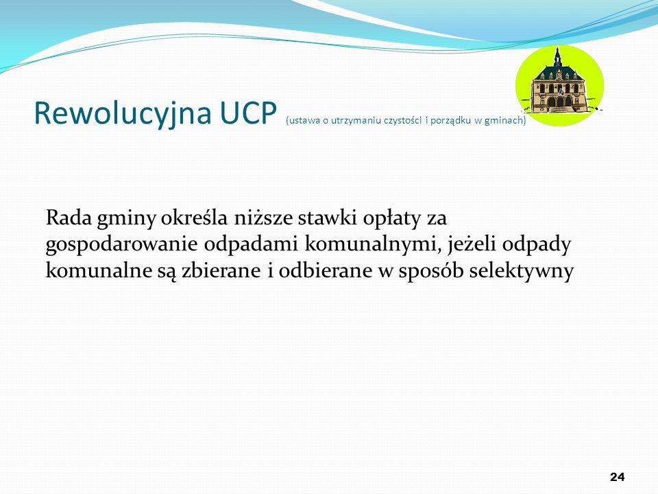 Rewolucyjna UCP (ustawa o utrzymaniu czystości i porządku w gminach) 24 Rada gminy określa niższe stawki opłaty za gospodarowanie odpadami komunalnymi