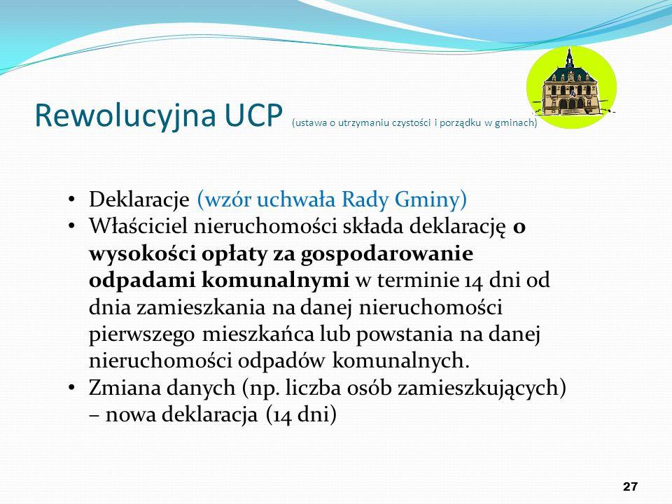 Rewolucyjna UCP (ustawa o utrzymaniu czystości i porządku w gminach) 27 Deklaracje (wzór uchwała Rady Gminy) Właściciel nieruchomości składa deklaracj