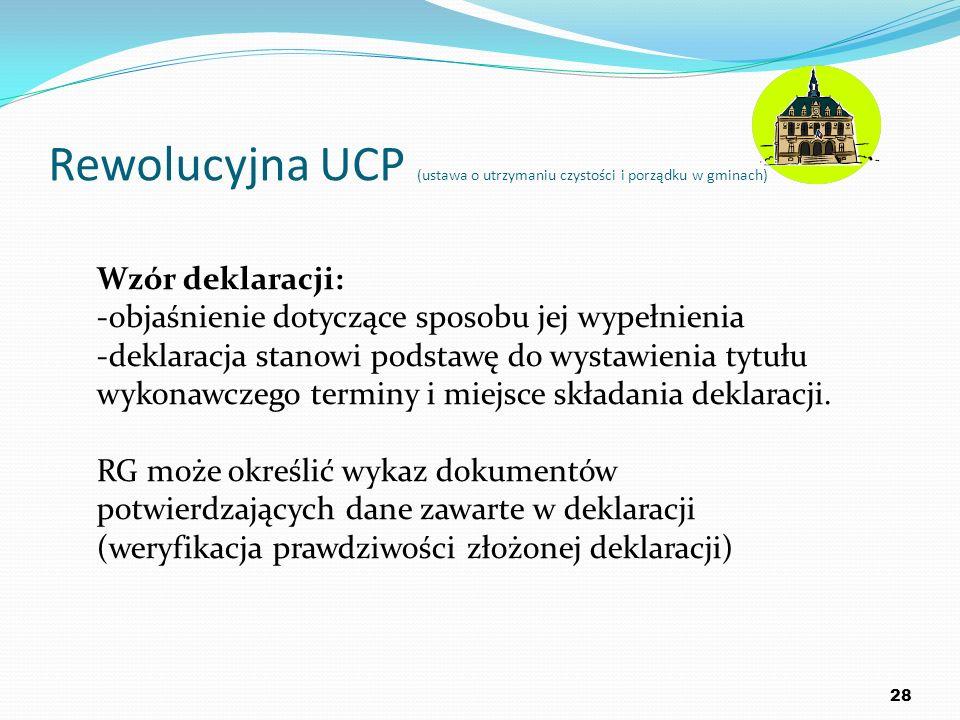 Rewolucyjna UCP (ustawa o utrzymaniu czystości i porządku w gminach) 28 Wzór deklaracji: -objaśnienie dotyczące sposobu jej wypełnienia -deklaracja st