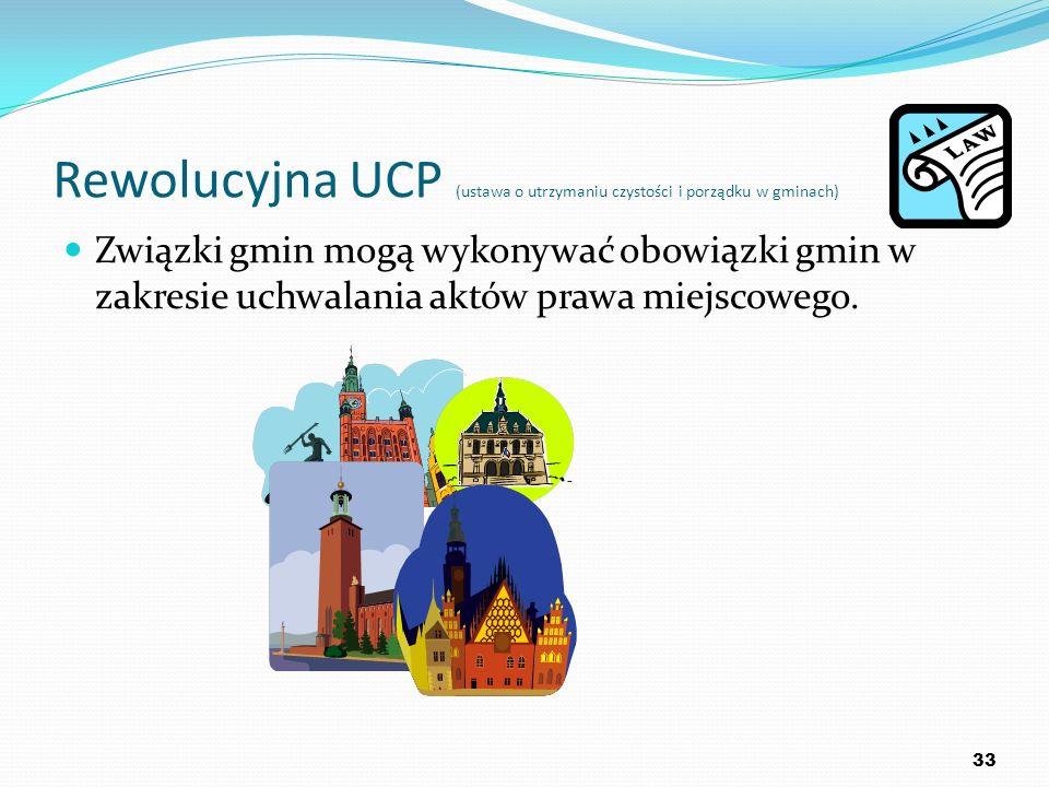 Rewolucyjna UCP (ustawa o utrzymaniu czystości i porządku w gminach) Związki gmin mogą wykonywać obowiązki gmin w zakresie uchwalania aktów prawa miej