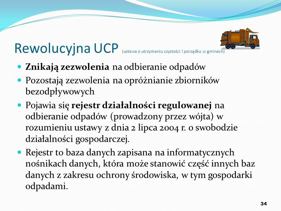 Rewolucyjna UCP (ustawa o utrzymaniu czystości i porządku w gminach) Znikają zezwolenia na odbieranie odpadów Pozostają zezwolenia na opróżnianie zbio
