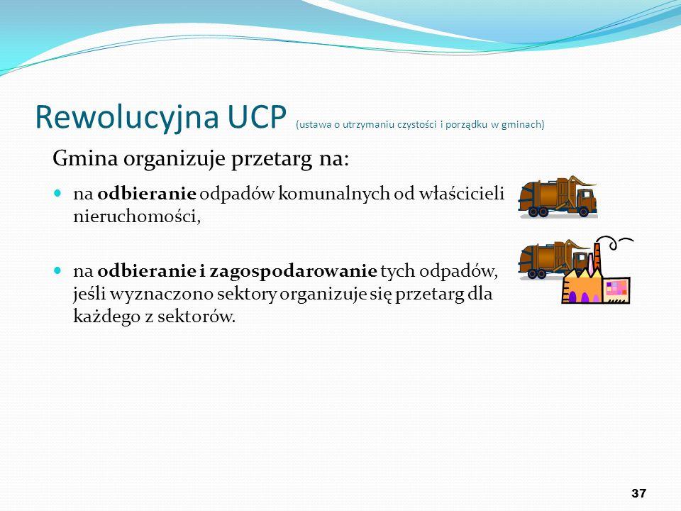 Rewolucyjna UCP (ustawa o utrzymaniu czystości i porządku w gminach) Gmina organizuje przetarg na: na odbieranie odpadów komunalnych od właścicieli ni