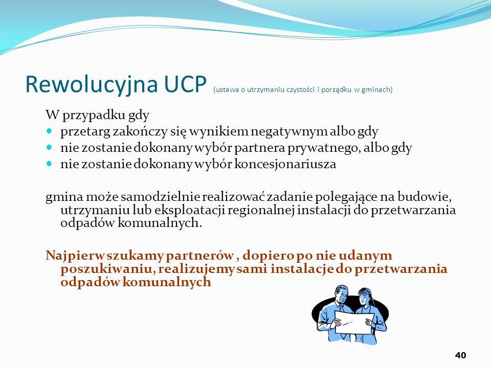 Rewolucyjna UCP (ustawa o utrzymaniu czystości i porządku w gminach) W przypadku gdy przetarg zakończy się wynikiem negatywnym albo gdy nie zostanie d