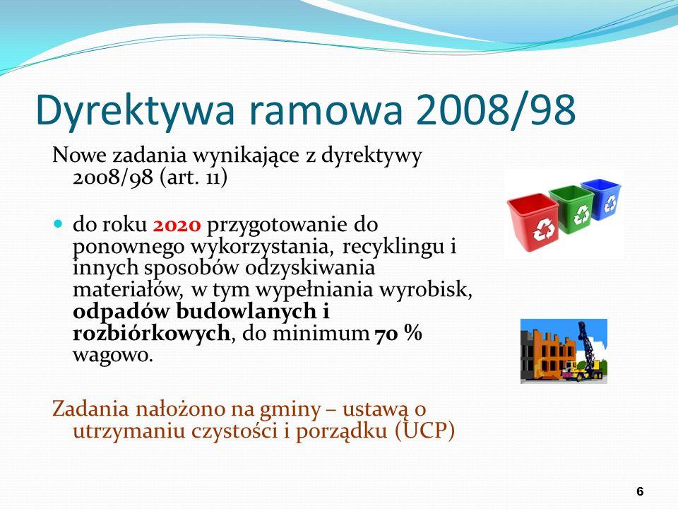 Dyrektywa ramowa 2008/98 Zmienia dyrektywę 2006/12/WE Precyzuje definicje odpadów, odzysku i unieszkodliwiania, Kładzie nacisk na cykl życia produktów i materiałów, a nie tylko na fazę odpadu, Kładzie nacisk na zmniejszanie oddziaływania na środowisko, jakie wywiera wytwarzanie odpadów i gospodarowanie nimi, Kładzie nacisk na podniesie wartości ekonomicznej odpadów (odzysk oraz wykorzystanie odzyskanych materiałów w celu ochrony zasobów naturalnych).
