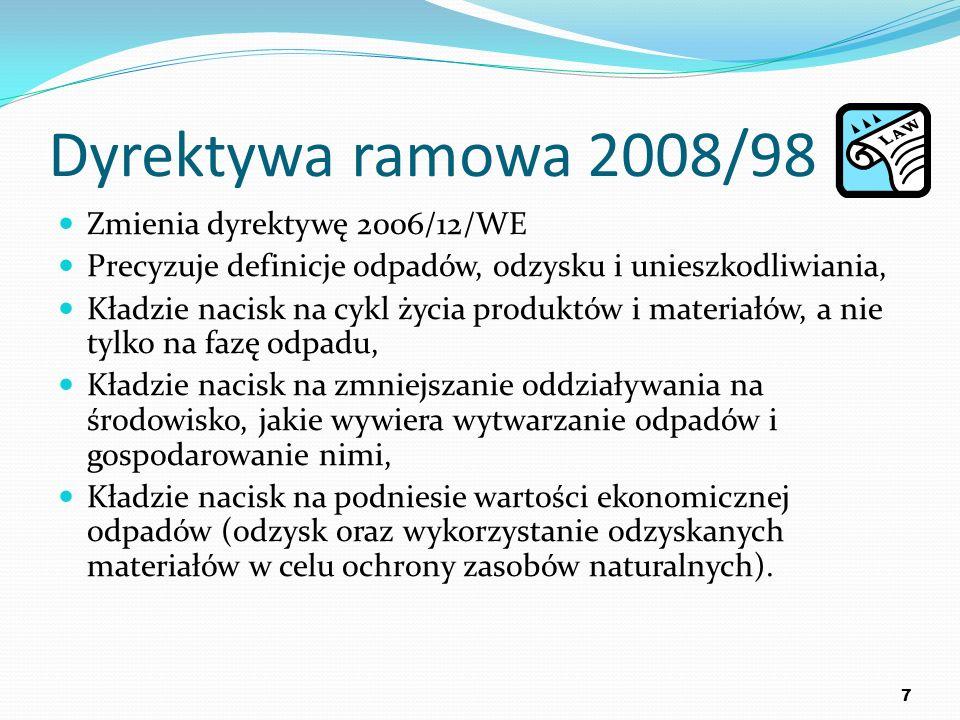 Dyrektywa ramowa 2008/98 Zmienia dyrektywę 2006/12/WE Precyzuje definicje odpadów, odzysku i unieszkodliwiania, Kładzie nacisk na cykl życia produktów