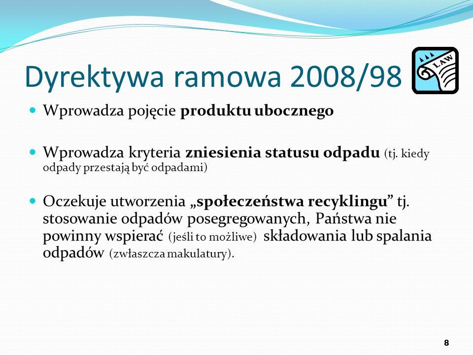 Dyrektywa ramowa 2008/98 Wprowadza pojęcie produktu ubocznego Wprowadza kryteria zniesienia statusu odpadu (tj. kiedy odpady przestają być odpadami) O