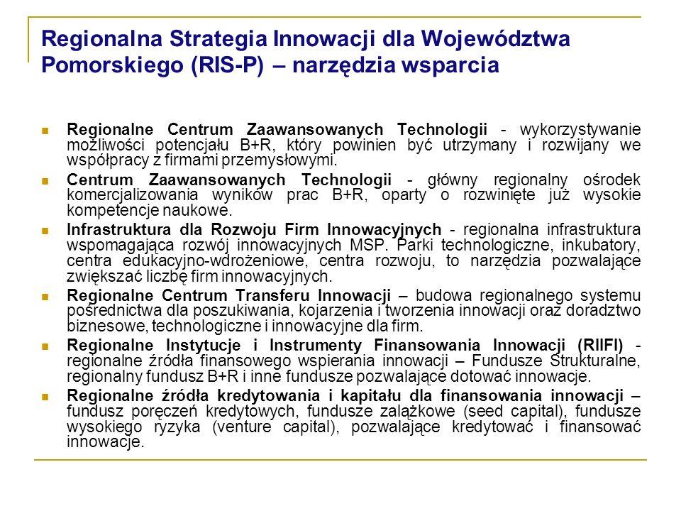 Regionalna Strategia Innowacji dla Województwa Pomorskiego (RIS-P) – narzędzia wsparcia Regionalne Centrum Zaawansowanych Technologii - wykorzystywanie możliwości potencjału B+R, który powinien być utrzymany i rozwijany we współpracy z firmami przemysłowymi.
