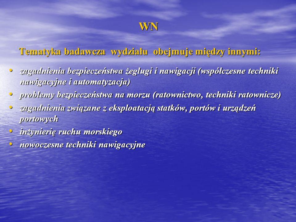 WN WN Tematyka badawcza wydziału obejmuje między innymi: Tematyka badawcza wydziału obejmuje między innymi: zagadnienia bezpieczeństwa żeglugi i nawig