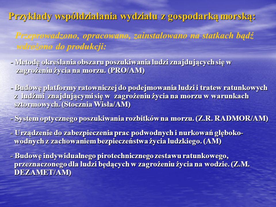 Przykłady współdziałania wydziału z gospodarką morską: - Metodę określania obszaru poszukiwania ludzi znajdujących się w zagrożeniu życia na morzu. (P