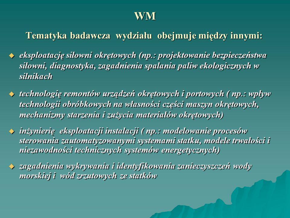 WM Tematyka badawcza wydziału obejmuje między innymi: Tematyka badawcza wydziału obejmuje między innymi: eksploatację siłowni okrętowych (np.: projekt