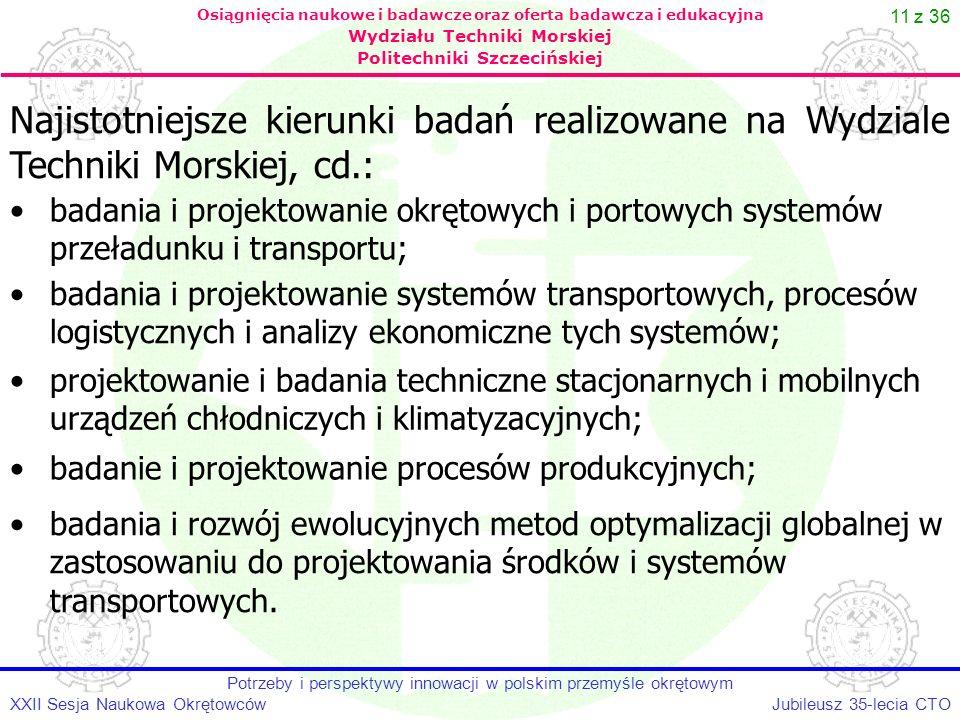 11 z 36 Jubileusz 35-lecia CTOXXII Sesja Naukowa Okrętowców Potrzeby i perspektywy innowacji w polskim przemyśle okrętowym Osiągnięcia naukowe i badaw