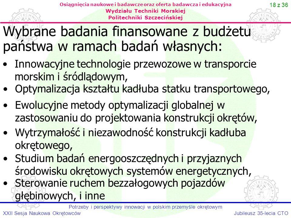 18 z 36 Jubileusz 35-lecia CTOXXII Sesja Naukowa Okrętowców Potrzeby i perspektywy innowacji w polskim przemyśle okrętowym Osiągnięcia naukowe i badaw