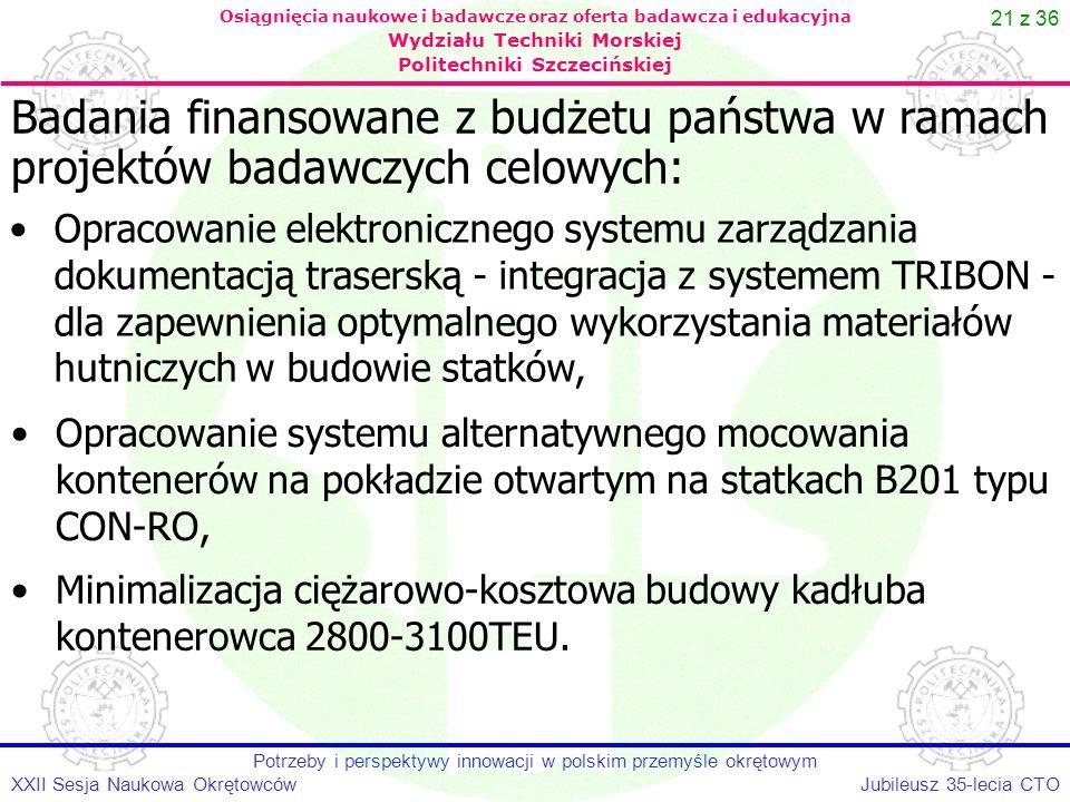 21 z 36 Jubileusz 35-lecia CTOXXII Sesja Naukowa Okrętowców Potrzeby i perspektywy innowacji w polskim przemyśle okrętowym Osiągnięcia naukowe i badaw