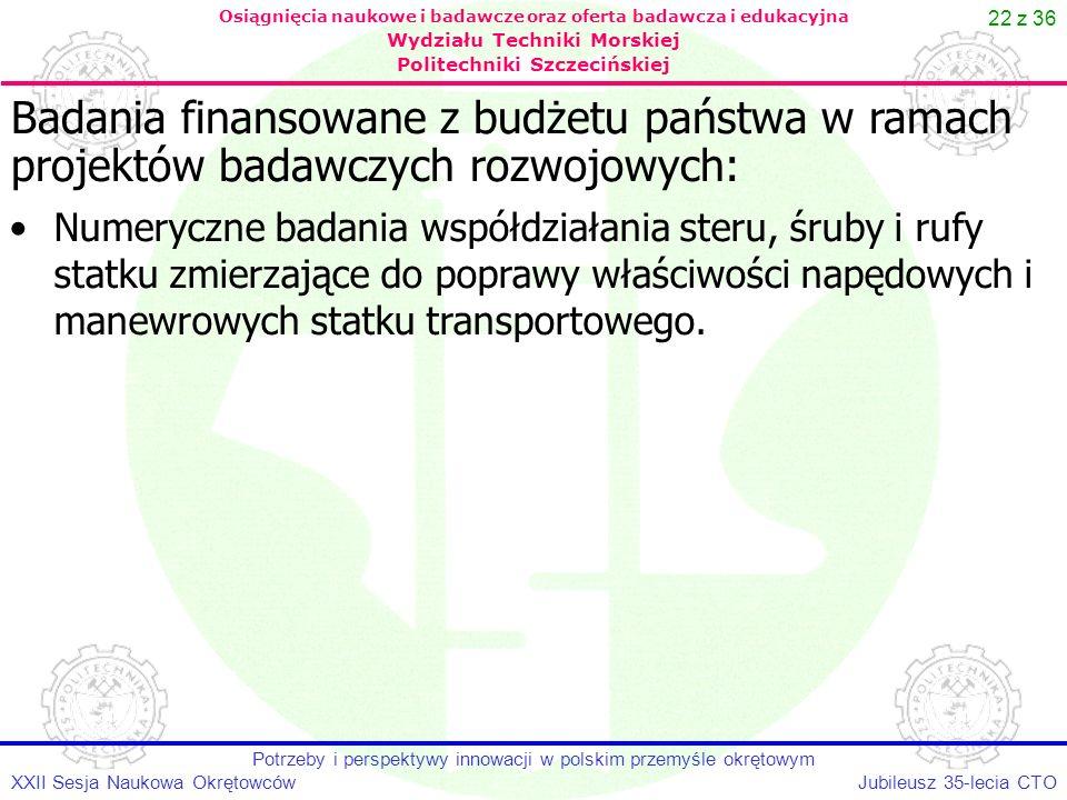 22 z 36 Jubileusz 35-lecia CTOXXII Sesja Naukowa Okrętowców Potrzeby i perspektywy innowacji w polskim przemyśle okrętowym Osiągnięcia naukowe i badaw