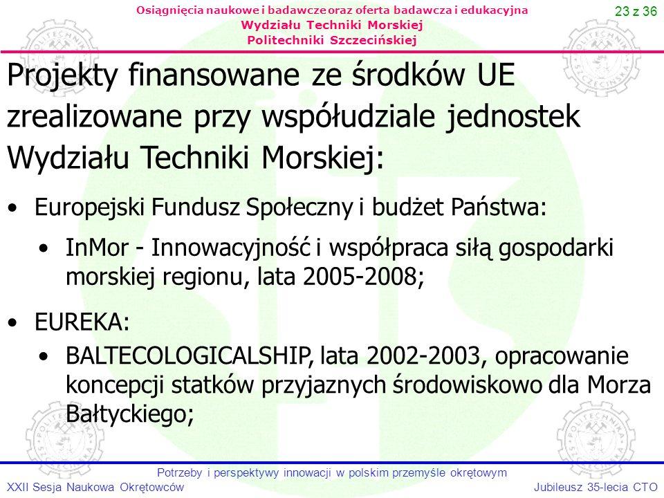 23 z 36 Jubileusz 35-lecia CTOXXII Sesja Naukowa Okrętowców Potrzeby i perspektywy innowacji w polskim przemyśle okrętowym Osiągnięcia naukowe i badaw