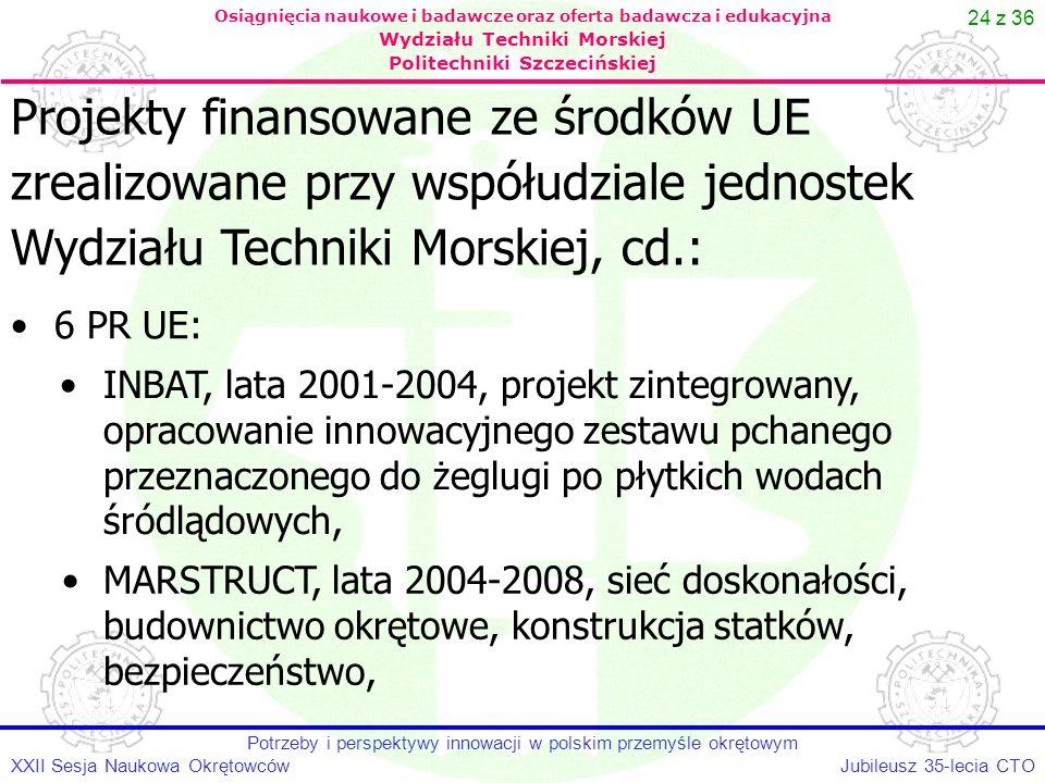 24 z 36 Jubileusz 35-lecia CTOXXII Sesja Naukowa Okrętowców Potrzeby i perspektywy innowacji w polskim przemyśle okrętowym Osiągnięcia naukowe i badaw