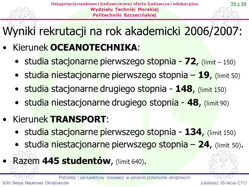 35 z 36 Jubileusz 35-lecia CTOXXII Sesja Naukowa Okrętowców Potrzeby i perspektywy innowacji w polskim przemyśle okrętowym Osiągnięcia naukowe i badaw