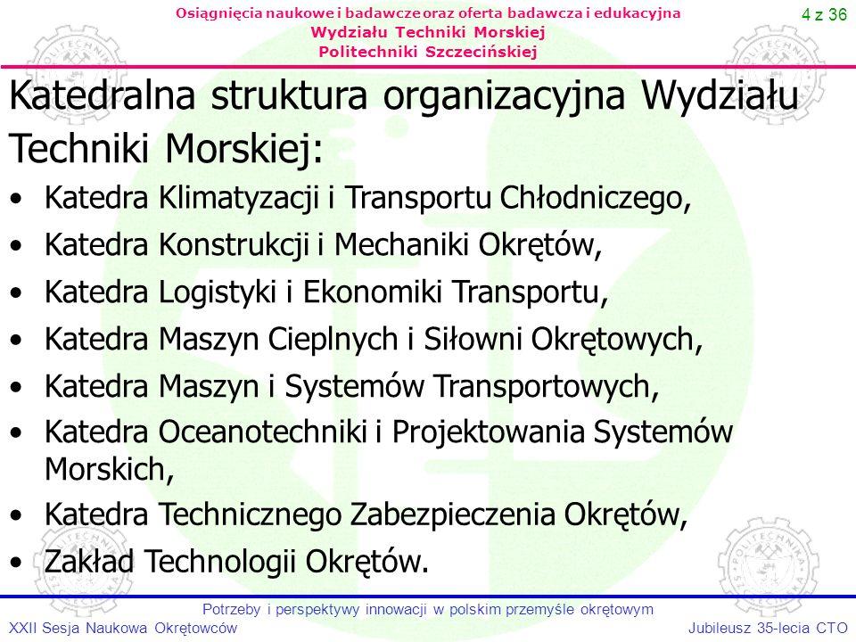 35 z 36 Jubileusz 35-lecia CTOXXII Sesja Naukowa Okrętowców Potrzeby i perspektywy innowacji w polskim przemyśle okrętowym Osiągnięcia naukowe i badawcze oraz oferta badawcza i edukacyjna Wydziału Techniki Morskiej Politechniki Szczecińskiej Kierunek OCEANOTECHNIKA: Wyniki rekrutacji na rok akademicki 2006/2007: studia stacjonarne pierwszego stopnia - 72, (limit – 150) studia niestacjonarne pierwszego stopnia – 19, (limit 50) studia stacjonarne drugiego stopnia - 148, (limit 150) studia niestacjonarne drugiego stopnia - 48, (limit 90) Kierunek TRANSPORT: studia stacjonarne pierwszego stopnia - 134, (limit 150) studia niestacjonarne pierwszego stopnia – 24, (limit 50).