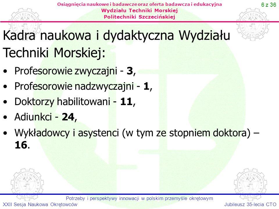 6 z 36 Jubileusz 35-lecia CTOXXII Sesja Naukowa Okrętowców Potrzeby i perspektywy innowacji w polskim przemyśle okrętowym Osiągnięcia naukowe i badawc
