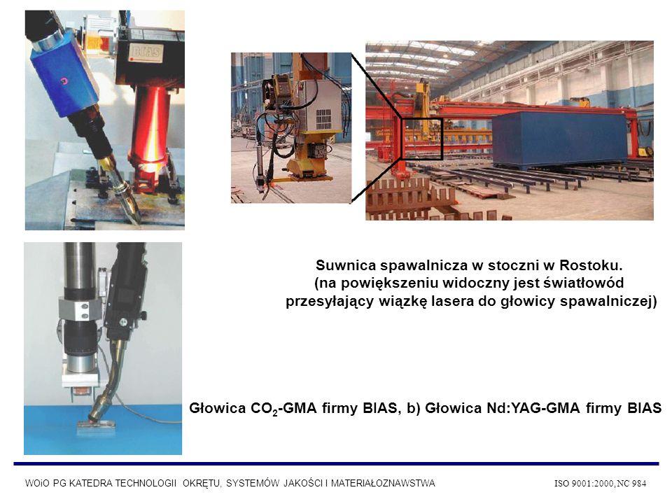 a) b) Głowica CO 2 -GMA firmy BIAS, b) Głowica Nd:YAG-GMA firmy BIAS Suwnica spawalnicza w stoczni w Rostoku. (na powiększeniu widoczny jest światłowó