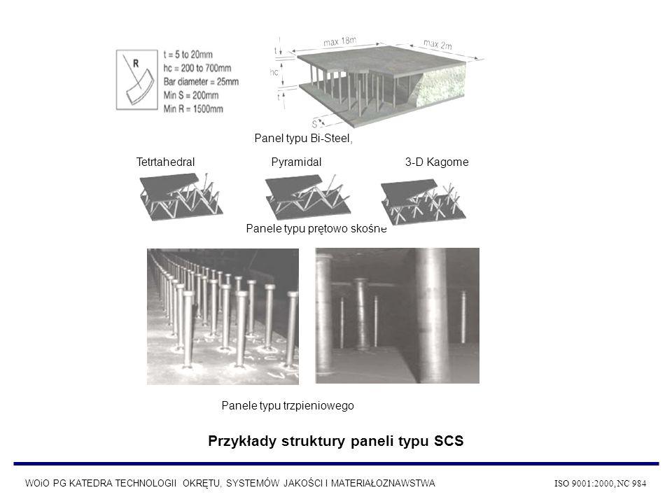 Tetrtahedral Pyramidal 3-D Kagome Panele typu prętowo skośne Panel typu Bi-Steel, Panele typu trzpieniowego Przykłady struktury paneli typu SCS WOiO P
