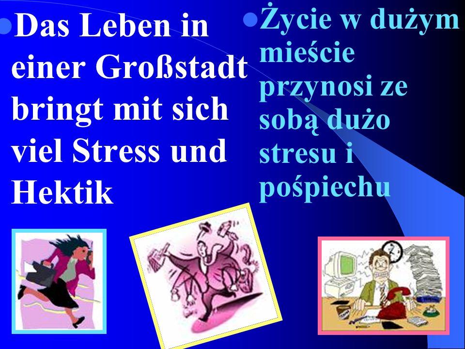 Das Leben in einer Großstadt bringt mit sich viel Stress und Hektik Życie w dużym mieście przynosi ze sobą dużo stresu i pośpiechu
