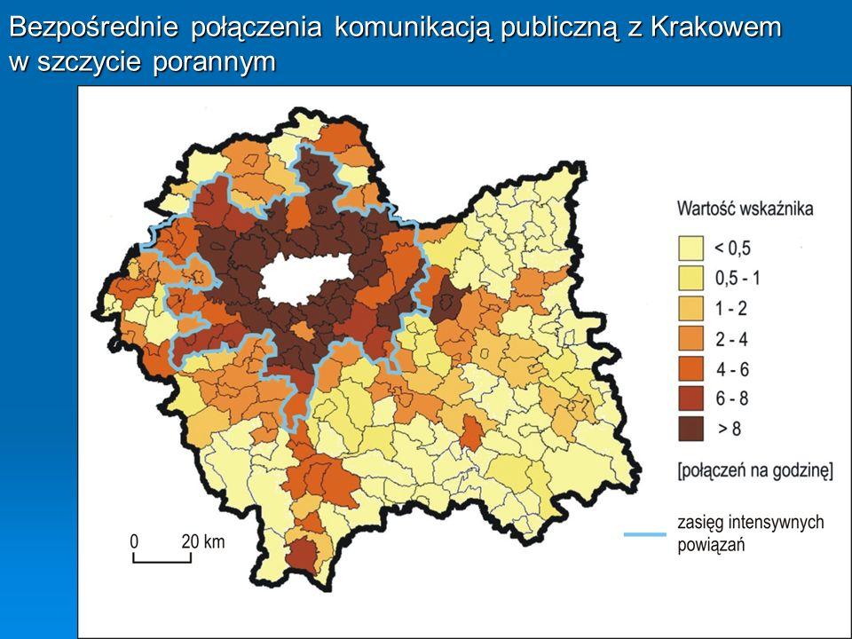 Bezpośrednie połączenia komunikacją publiczną z Krakowem w szczycie porannym