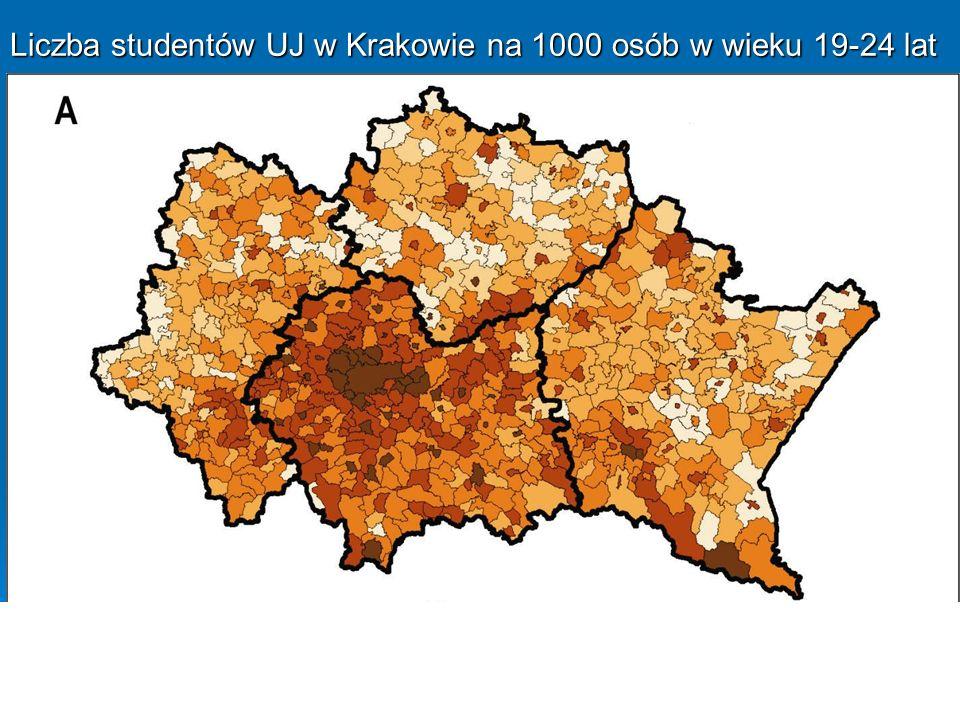 Liczba studentów UJ w Krakowie na 1000 osób w wieku 19-24 lat