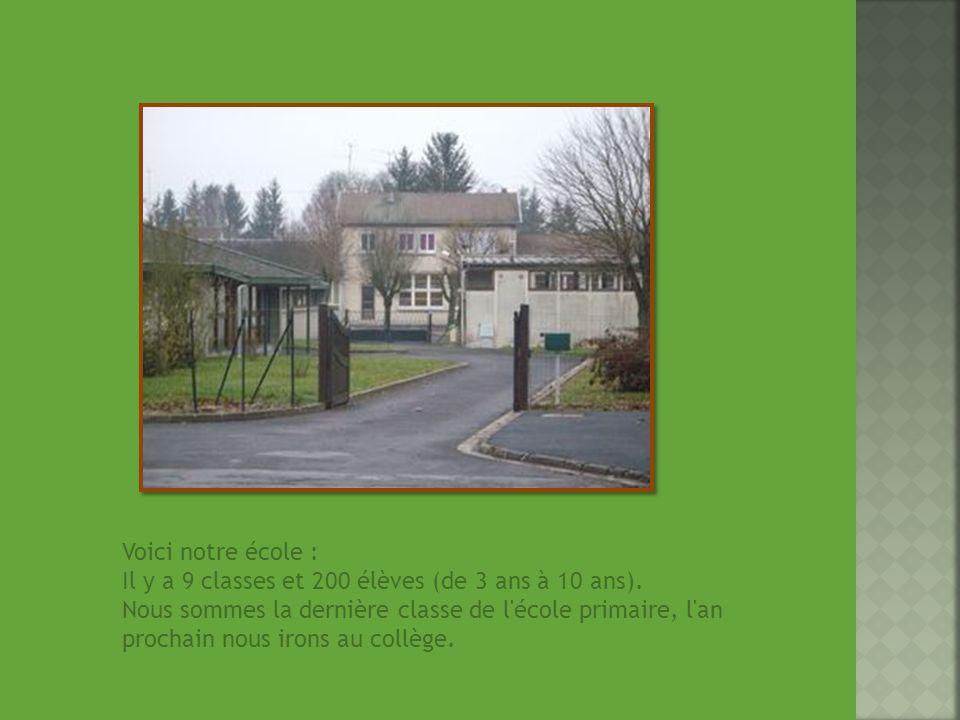 Voici notre école : Il y a 9 classes et 200 élèves (de 3 ans à 10 ans).