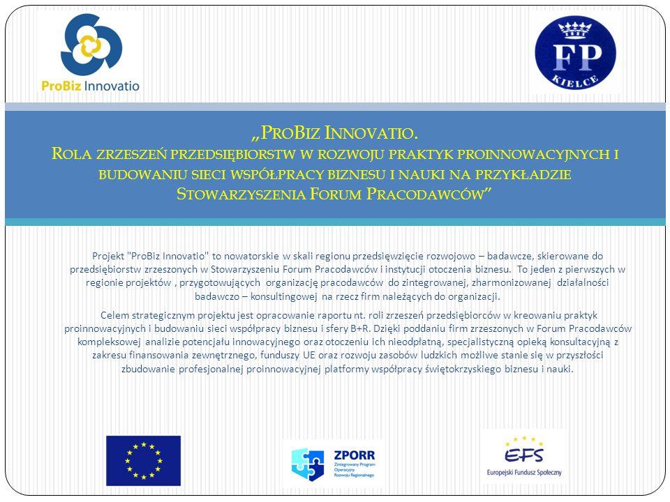 Projekt ProBiz Innovatio to nowatorskie w skali regionu przedsięwzięcie rozwojowo – badawcze, skierowane do przedsiębiorstw zrzeszonych w Stowarzyszeniu Forum Pracodawców i instytucji otoczenia biznesu.