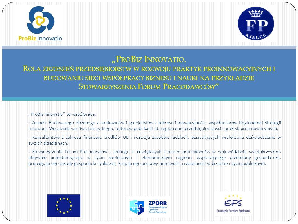 ProBiz Innovatio to współpraca: - Zespołu Badawczego złożonego z naukowców i specjalistów z zakresu innowacyjności, współautorów Regionalnej Strategii Innowacji Województwa Świętokrzyskiego, autorów publikacji nt.