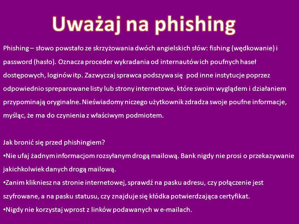 Phishing – słowo powstało ze skrzyżowania dwóch angielskich słów: fishing (wędkowanie) i password (hasło). Oznacza proceder wykradania od internautów