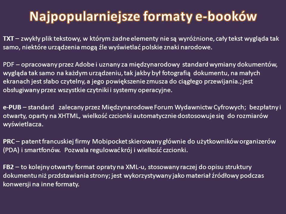 TXT – zwykły plik tekstowy, w którym żadne elementy nie są wyróżnione, cały tekst wygląda tak samo, niektóre urządzenia mogą źle wyświetlać polskie zn