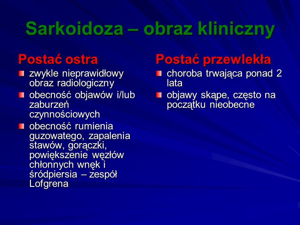 Sarkoidoza – obraz kliniczny Postać ostra zwykle nieprawidłowy obraz radiologiczny obecność objawów i/lub zaburzeń czynnościowych obecność rumienia gu